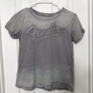 Fender Lucky Brand Gray Acid Wash T Shirt -Amazing